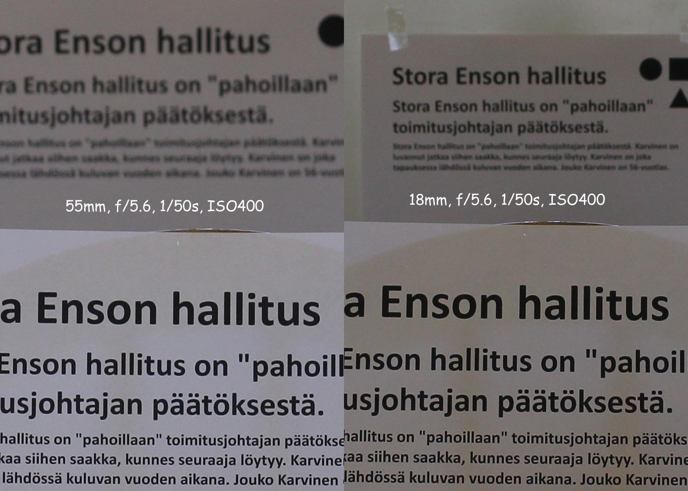 Molemmissa kuvissa on käytetty samaa aukkoa f/5.6