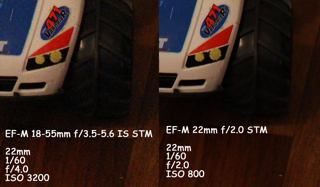 f/2 aukon läpi pääsee nelinkertainen määrä valoa f/4 aukkoon verrattuna: kuvassa vähemmän kohinaa.